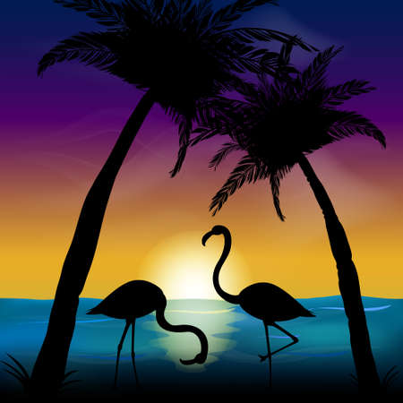 Two silhouettes of flamingos in the background of the sea and sunset. Ocean landscape with palms.