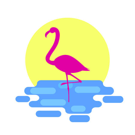Pink flamingo standing in the sea with sunset on background.Flat style, vector illustration