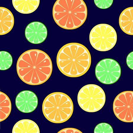 Seamless pattern with slices of orange, lemon, lime, grapefruit on dark blue background. Flat style. Vector illustration