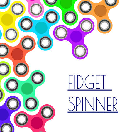 positive energy: Banner with colorful fidget spinners. Spinner hand toy concept. Vector illustration
