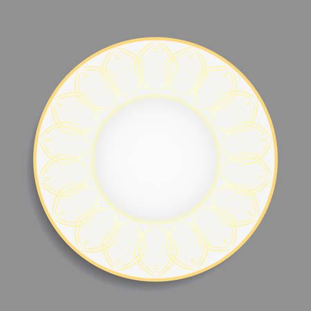 Gold vintage ornament for decorative plate on grey background. Vector illustration