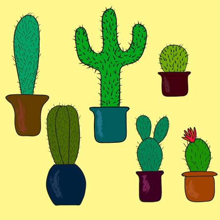 Set of hand drawn cactus on yellow background. Vector illustration Ilustrace