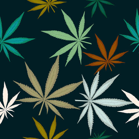 Seamless pattern with leaves of marijuana on dark green background. Colorful cannabis leaves. Vector illustration Ilustrace