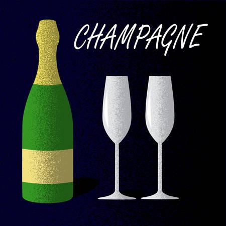 Champagne bottle with glasses on dark blue background. Poster in vintage style. Vector illustration