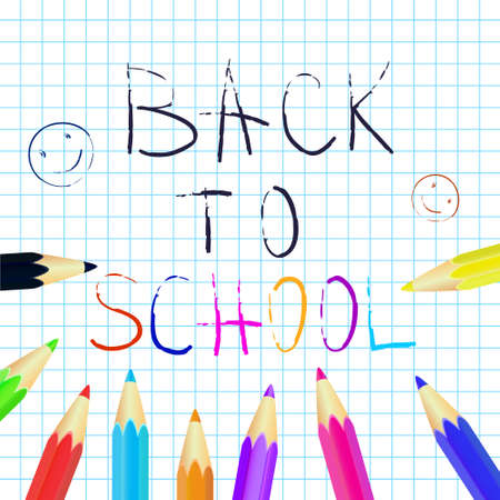 Back to school poster, education background. Set of colored pencils. Vector illustration