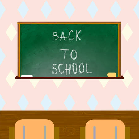 Classroom with green blackboard, chairs. Back to school. Vector illustration