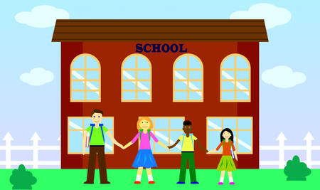 School yard with children from different countries. Flat style. Vector illustration