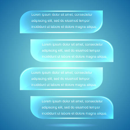 Web elements. Four horizontal glass plates for info graphic on blue background. Vector illustration