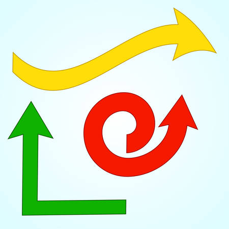 Set of colorful arrows on light blue background. Vector illustration