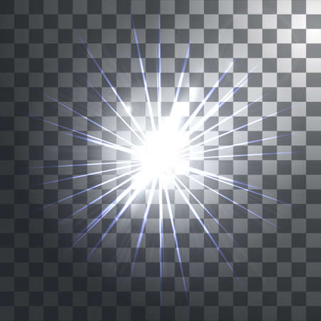 Glowing light effects with transparency isolated on plaid vector background. Lens flares, rays, stars and sparkles. Vector illustration Illustration