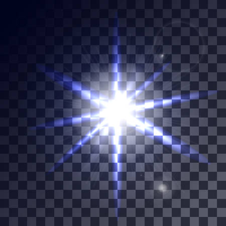 greased: Set of glowing light effects with transparency isolated on plaid vector background. Lens flares, rays, stars and sparkles. Vector illustration