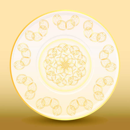 Old-fashioned white plate with a gold vintage ornament on gold background. Vector illustration Ilustrace