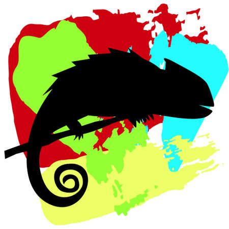 Black silhouette of chameleon on the branch on colorful background. Lizard on rainbow background. Vector illustration