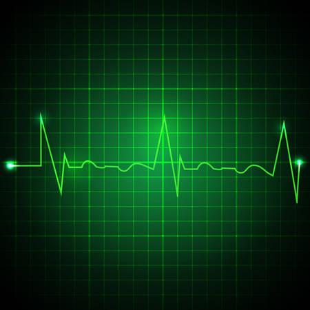 Heart pulse graphic. Ekg line on green background. Cardiogram background. Vector illustration Ilustrace