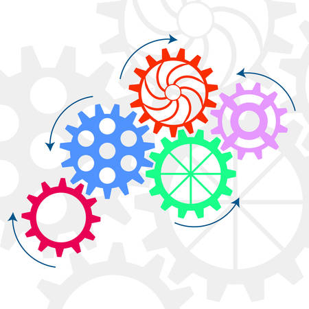 Vector gear relationship for business concepts. Colorful gears. Vector illustration