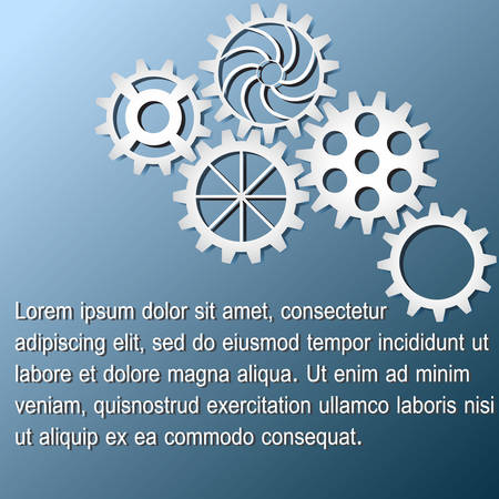 White gears infographics on dark blue background. Business concept. Vector illustration