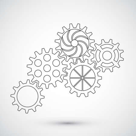 Gears on white background. Infographic concept. Vector illustration