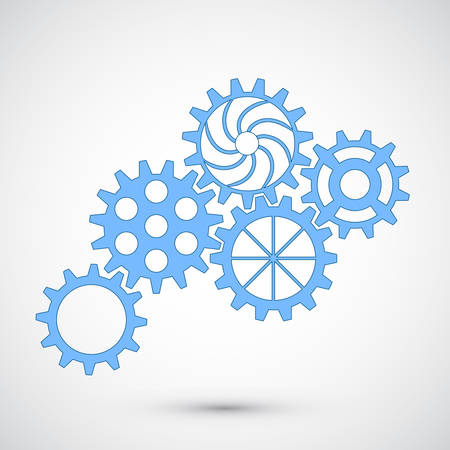 Blue gears on grey background. Infographic concept. Vector illustration