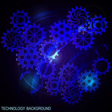Abstract futuristic digital technology background with gears. Blue background. Vector illustration Ilustrace
