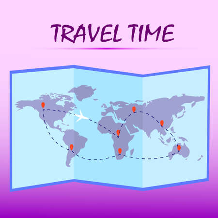 Travel time.Folded world map with route on pink background. Vector illustration Ilustrace