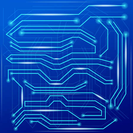 Blue abstract background with high tech circuit board. Microchip background.