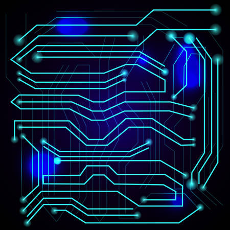 electronic components: Blue background with high tech circuit board. Microchip background. Vector illustration Illustration
