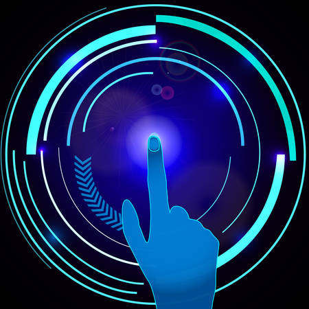 Interface technology. Abstract hand with scan, electronic technology. Futuristic design. Vector illustration Ilustrace