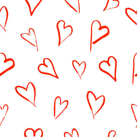 Seamless pattern with hand drawn hearts on white background. Vector illustration