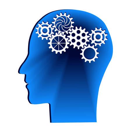 Human head with gears. Head thinking.Idea concept. Vector illustration