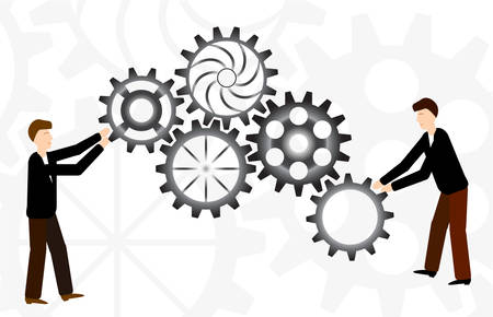 Business teamwork with mechanism system. Cooperation concept. Two man with gears. Vector illustration