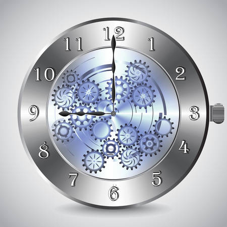 Metal mechanical clock with gears on grey background. Vector illustration Ilustrace