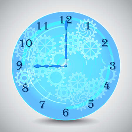 Blue mechanical clock with gears on grey background. Vector illustration