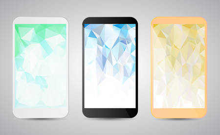 Set of modern gadgets with colorful backgrounds on the screen. White, black and gold smartphones on grey background. Vector illustration Ilustrace