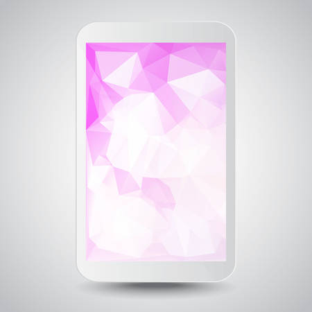 White modern gadget with pink polygonal background on the screen. Vector illustration