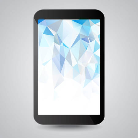 Black modern gadget with blue polygonal background on screen. Vector illustration