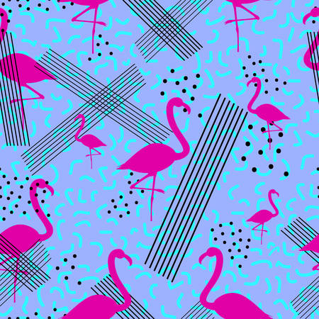 Colorful seamless pattern in memphis style with pink flamingo. Vector illustration
