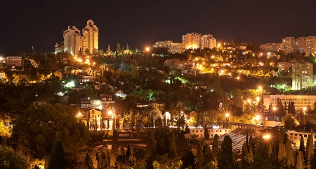A night view of the city Yalta photo
