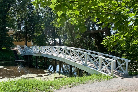 The white bridge through a pond  Such bridges buil by landowners in the grounds in 18 century