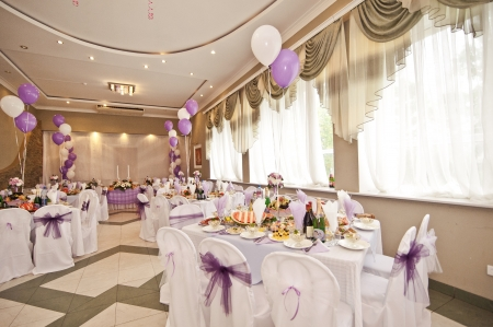 Wedding hall with spheres  It are white - violet registration of a hall Фото со стока - 19362931