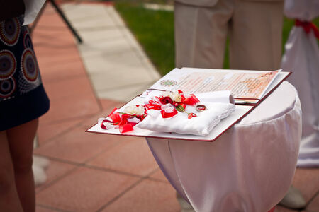 Wedding registration of an exit registatsiya outdoors. photo