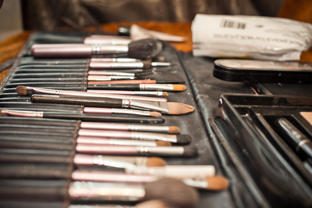 Professional set for a make-up. Brushes. photo
