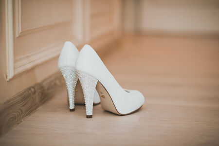 no heels: Shoes stand on the floor.