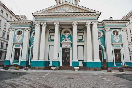 apostolic: View of a front part of church in the city of Sankt Petersburg on Nevsky Avenue. Stock Photo