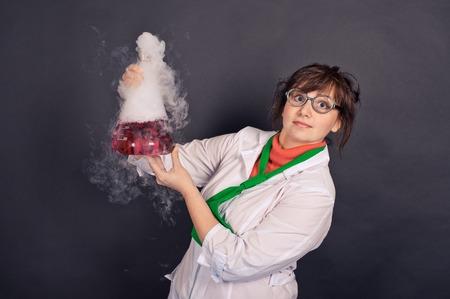 Creative scientists make experiments with liquid ice. Archivio Fotografico