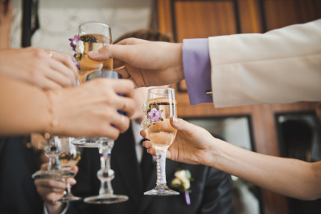 Alcoholic toast for success in business. Banque d'images