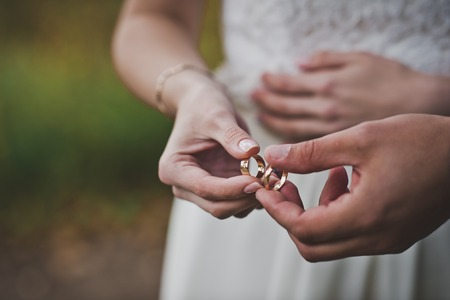 Palms of the newly-married couple with wedding rings.
