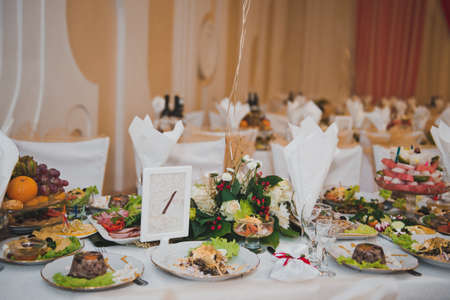Festive table with food. photo