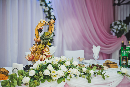 festively: Festively decorated hall for ceremony.