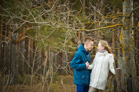 aspen tree: The guy and the girl about an aspen tree. Stock Photo