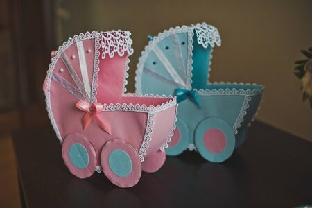 carriages: Toy carriages for children.